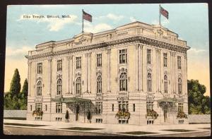 Postcard Used w/2 One cent GW bklt stamps Elks Temple Detroit MI LB