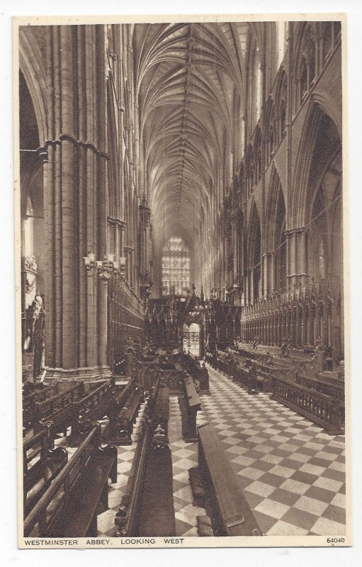 UK London Westminster Abbey The Choir ooking West Photochrom ca 1920 Postcard
