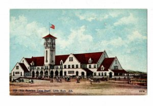 Little Rock Arkansas Postcard Iron Mountain Union Depot Horse & Wagons #75554