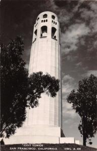 SAN FRANCISCO CA~COIT TOWER~TELEGRAPH HILL~REAL PHOTO POSTCARD 1940s GREAT ANGLE