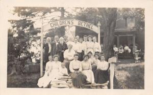 Smithfield OH~ Children's Bethel Orphanage~Staff~Ladies, Bearded Men~RPPC 1909