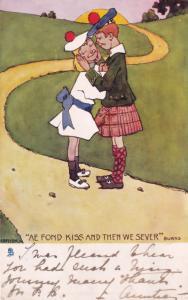 Burns Scottish Kissing Fond Kiss Then We Sever Comic Poet Old Postcard
