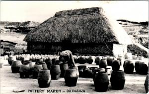 RPPC  OKINAWA, JAPAN   POTTERY MAKER Large Pots THATCHED HUT  c1950s  Postcard