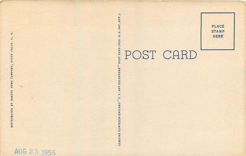 Vermillion South Dakota~University~Administration Building~1951 Linen Postcard