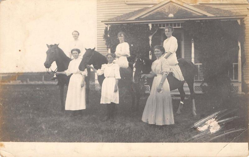 Real Photo Postcard~6 Young Ladies~Hold Horses Reins~Girls in White~Porch~c1916