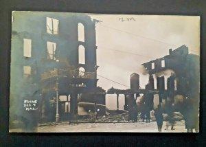 Mint Vintage 1909 Kalamazoo MI Burdick Hotel Fire Ruins Real Photo Postcard
