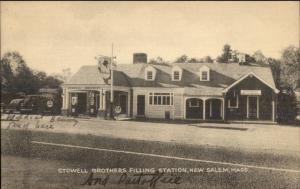 New Salem MA Stowell Bros Gas Station Postcard