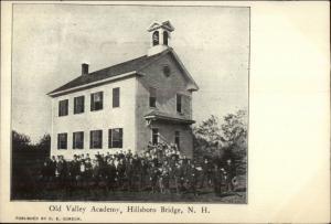 Hillsboro Bridge NH Old Valley Academy c1905 Postcard