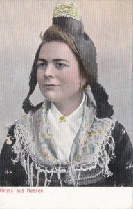 Germany Gruss Aus Hessen Local Woman In Traditional Costume sk3950