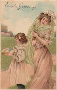 EASTER, 1900-10s; Mother & Daughter, Colored Eggs, Bonnet, PFB 6913
