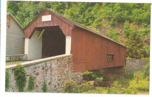 Covered Bridge Postcard Pennsylvania Uhlerstown Bucks County