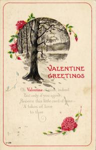 Valentine Greetings Poem, Red Roses, Forest Scene, PU-1917