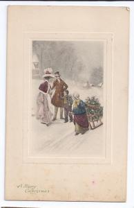 Vintage Christmas Postcard Tinted Litho 1912 Children Sleigh