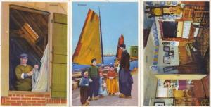 Volendam Wacky Lounge Huge Clock Boat Mending Curtains 3x Dutch Postcard s