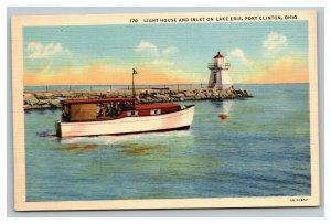 Vintage 1930's Postcard Lighthouse & Inlet Lake Erie - Boating Port Clinton Ohio