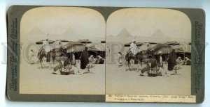 439735 Bedouin villages in the Libyan desert Africa camels Vintage STEREO PHOTO