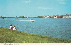Children Watching Speedboats at Boating Lake Fairhaven Lancs 1970s Postcard