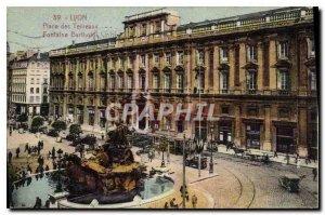 Postcard Old Lyon Place Bellecour Fontaine Bartholdi