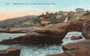 SAN DIEGO, CA California   SPHINX HEAD CAVE~LA JOLLA~HOMES   c1910's Postcard