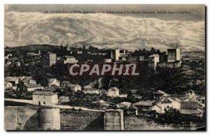 Postcard Old Granada Alhambra Vista General of the Sierra Nevada