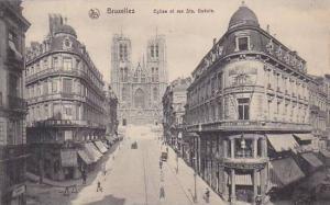 Belgium Brussels Eglise et rue Sanite Gudule
