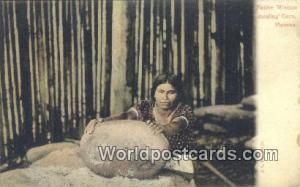 Panama Panama Native Woman mealing corn