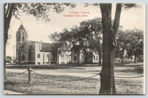 Webster City Iowa~Catholic Church~Clapboard House Under Trees~Chain Fence~1908
