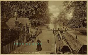 1910 Watford Hertfordshire England Real Photo Postcard: Canal Locks With Boats