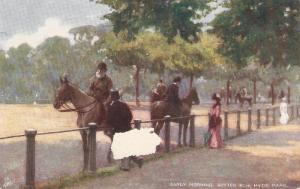 Horses. Early Morning. Rotten Row. Hyde Park Tuck Polette Postcard # 7180