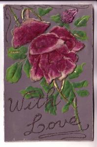 Large Felt Applique Purple Rose, With Love, Layered, Made in Germany