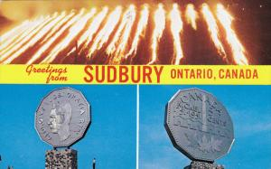 Pouring Slag At Night, Two Views of The Big Nickle Numismatic Park, SUDBURY...