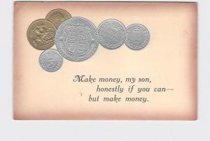 ANTIQUE POSTCARD ENGLAND PIECES OF MONEY EMBOSSED SILVER GOLD SHILLING SIX PENCE