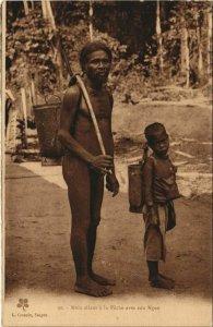 CPA AK Mois allant a la Peche avec son Ngno VIETNAM-INDOCHINA (1105769)