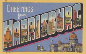 Large Letter Greetings HARRISBURG , Pennsylvania , PU-1955