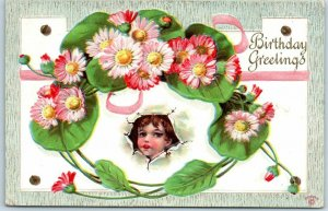 Vintage BIRTHDAY Greetings Postcard Girl's Face Pink Daisy Flowers 1910 Cancel