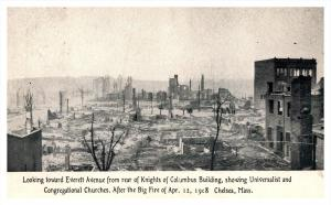 Massacusetts Chelsea ,  Aerial view of 1908  Fire.  Before and after. 2 cards