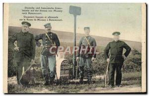 Old Postcard Customs French and German customs officers on the road to Mousey...