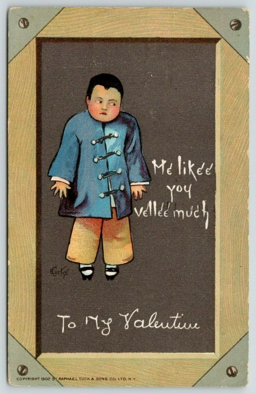 E Curtis Valentine~Chinese Boy~Me Likee You Vellee Much~Chalkboard Slate~TUCK