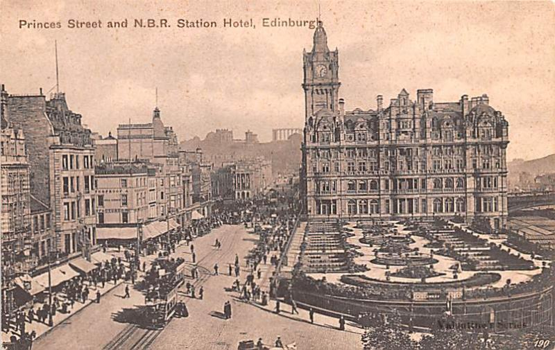 Scotland, UK Old Vintage Antique Post Card Princess Street and NBR Station Ho...