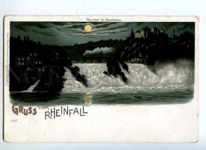 203173 GERMANY MOONLIGHT Gruss aus RHEINFALL Vintage postcard