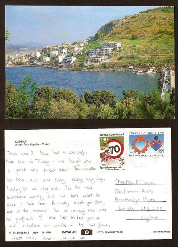 TURKEY VINTAGE POSTCARD/STAMP A VIEW FROM KUSADASI