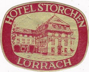 Germany Loerrach Hotel Storchen Vintage Luggage Label sk3056