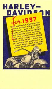 1937 Harley Davidson Advertising Motorcycle Postcard