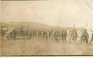 Military, Soldiers Marching, RPPC, AZO Stamp Box 1904-18
