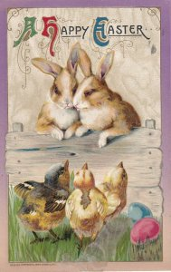 AS: EASTER, , PU-1911; Chicks watching pair of rabbits; WINSCH