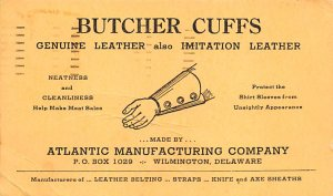 Advertising Post Card Atlantic Manufacturing Company, Butcher Cuffs Wilmingto...