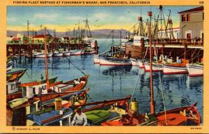 California San Francisco Fishing Fleet Berthed At Fisherman's Wharf