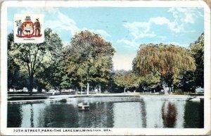 1919 Wilmington DE 30th Street Park The Lake Postcard DO
