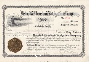 Detroit & Cleveland Navigation Company, 9 Shares Certificate #2716, 1909