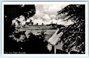 RPPC  PAGET, BERMUDA  View from Paget CRUISE SHIP Real Photo  Postcard